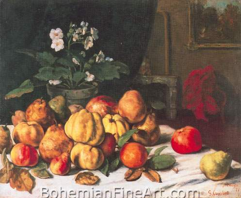 Gustave Courbet, Still Life: Apples, Pears and Primroses Fine Art Reproduction Oil Painting