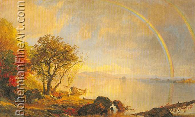 Jasper Francis Cropsey, Dawn of Morning+ Lake George Fine Art Reproduction Oil Painting
