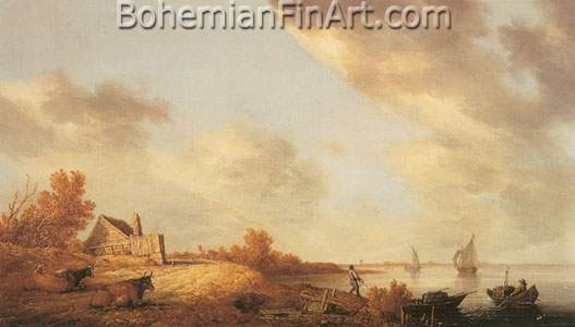 Aelbert Cuyp, Cattle and Cottage near a River Fine Art Reproduction Oil Painting