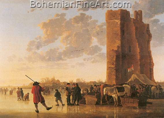 Aelbert Cuyp, Ice Scene before the Huis te Merwede Fine Art Reproduction Oil Painting