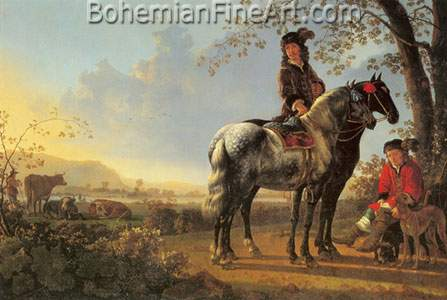 Aelbert Cuyp, Horsemen Resting in a Landscape Fine Art Reproduction Oil Painting