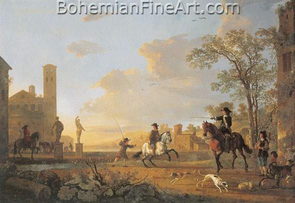 Aelbert Cuyp, Landscape with Horse Trainers Fine Art Reproduction Oil Painting