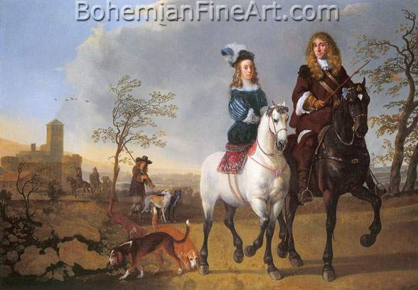 Aelbert Cuyp, Lady and Gentleman on Horeseback Fine Art Reproduction Oil Painting