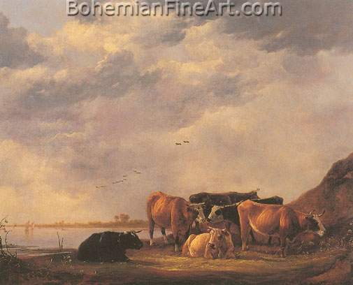 Aelbert Cuyp, Bulls on a Riverbank Fine Art Reproduction Oil Painting
