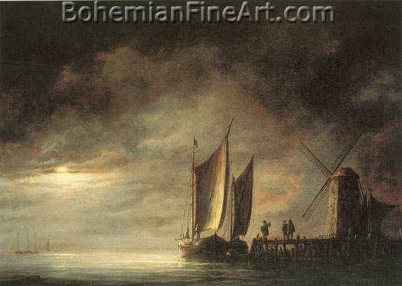 Aelbert Cuyp, Dordrecht Harbour by Moonlight Fine Art Reproduction Oil Painting