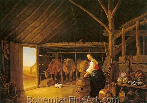 Aelbert Cuyp, Woman in a Stable Fine Art Reproduction Oil Painting