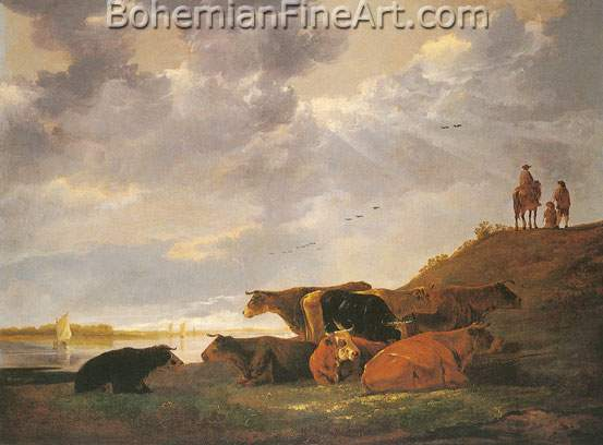 Aelbert Cuyp, River Landscape with Cows Fine Art Reproduction Oil Painting