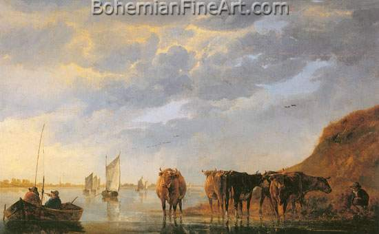 Aelbert Cuyp, A Herdsman with Five Cows Fine Art Reproduction Oil Painting