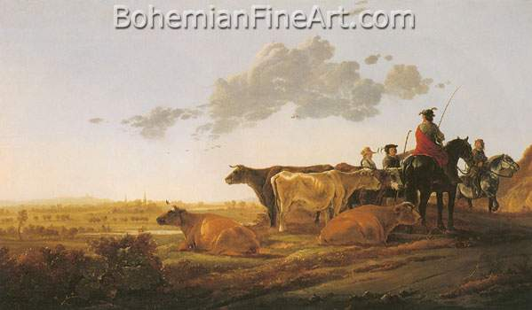 Aelbert Cuyp, Landscape with Herdsman Fine Art Reproduction Oil Painting