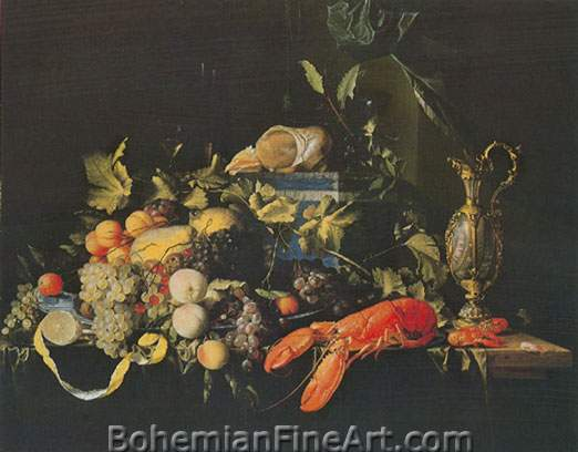 Jan Davisz de Heem, Still Life with Fruit and Lobster Fine Art Reproduction Oil Painting
