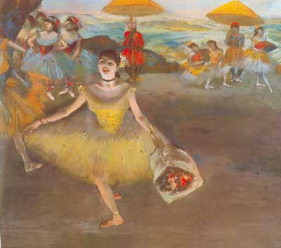 Edgar Degas, Dancer with Bouquet Curtseying (Pastel on Paper) Fine Art Reproduction Oil Painting