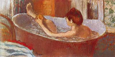 Edgar Degas, Woman in her Bath Sponging her Leg-Pastel on Paper Fine Art Reproduction Oil Painting
