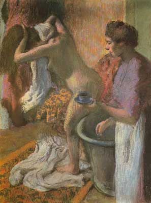 Edgar Degas, Breakfast after the Bath (Pastel on Paper) Fine Art Reproduction Oil Painting