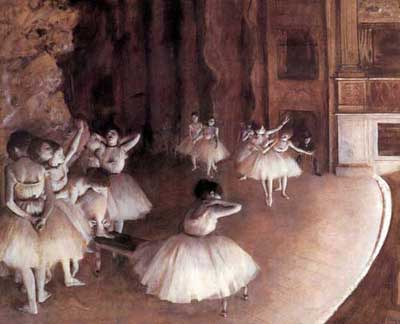 Edgar Degas, Ballet Rehearsal on the Stage Fine Art Reproduction Oil Painting
