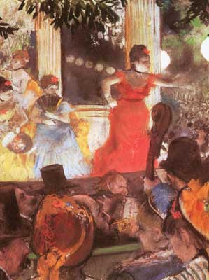 Edgar Degas, Cafe Concert at Les Ambassadeurs (Pastel on Paper) Fine Art Reproduction Oil Painting