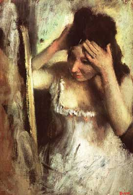 Edgar Degas, Woman Combing her Hair before a Mirror Fine Art Reproduction Oil Painting