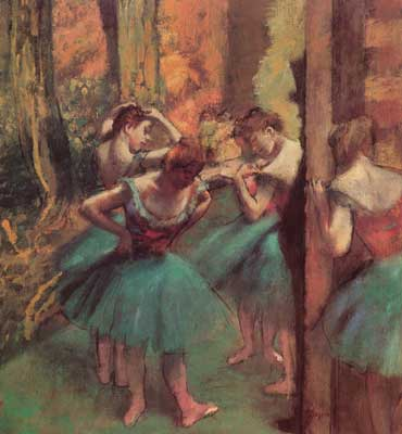 Edgar Degas, Dancers Pink and Green (Pastel on Paper) Fine Art Reproduction Oil Painting