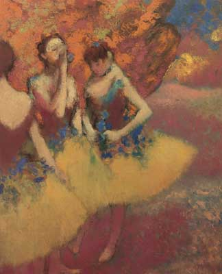 Edgar Degas, Three Dancers in Yellow Skirts Fine Art Reproduction Oil Painting