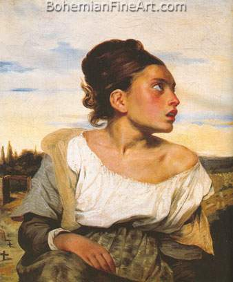 Eugene Delacroix, Orpan Girl at the Cemetry Fine Art Reproduction Oil Painting