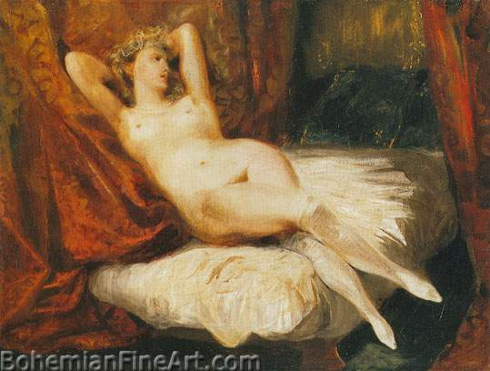 Eugene Delacroix, Odalisque Reclining on a Divan Fine Art Reproduction Oil Painting