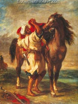 Eugene Delacroix, Arab Saddling a Horse Fine Art Reproduction Oil Painting