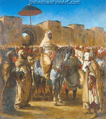 Eugene Delacroix, The Sultan of Morocco and his Entourage Fine Art Reproduction Oil Painting