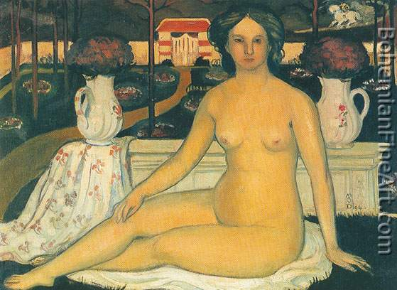 Maurice Denis, Nude with Bouquet of Violets Fine Art Reproduction Oil Painting