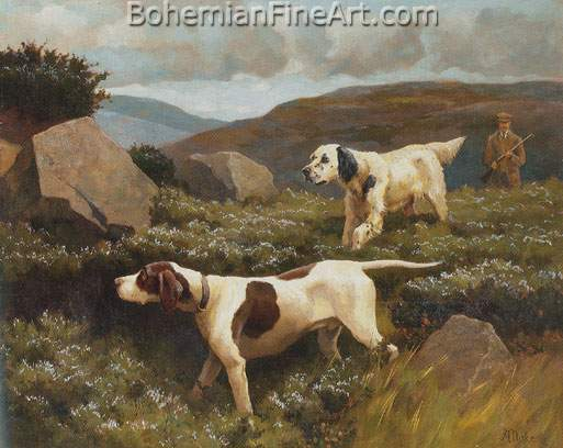 Alfred Duke, An English Setter and Pointer Fine Art Reproduction Oil Painting