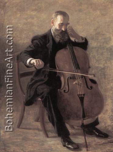 Thomas Eakins, The Cello Player Fine Art Reproduction Oil Painting