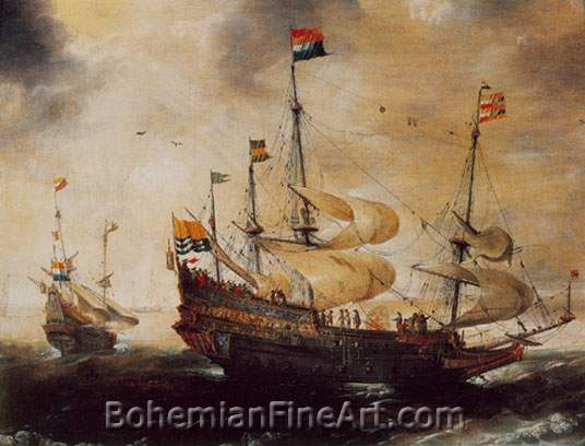 Andries Van Eertvelt, Portrait of a Four-Masted Ship Fine Art Reproduction Oil Painting