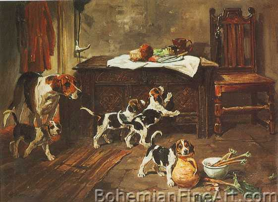 John Emms, A Hound and Puppies in an Interior Fine Art Reproduction Oil Painting