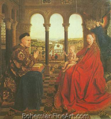Jan Van Eyck, The Virgin and Child with Chancellor Rodin Fine Art Reproduction Oil Painting