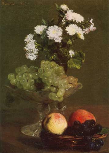 Henri Fantin-Latour, Chrysanthemums and Grapes Fine Art Reproduction Oil Painting