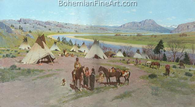 Henry Farny, In the foothills of the Rockies Fine Art Reproduction Oil Painting