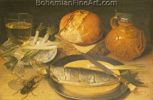 Georg Flegel, Fish Still Life with Stag Beetle Fine Art Reproduction Oil Painting