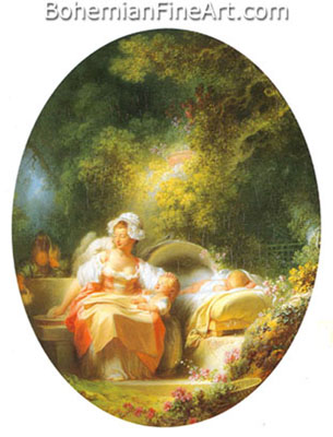 Jean-Honore Fragonard, The Good Mother Fine Art Reproduction Oil Painting