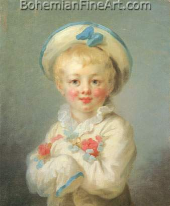 Jean-Honore Fragonard, A Boy as Pierrot Fine Art Reproduction Oil Painting