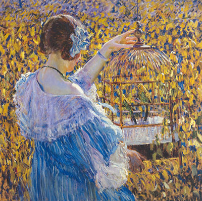 Frederick Frieseke, The Bird Cage Fine Art Reproduction Oil Painting