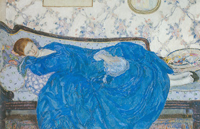 Frederick Frieseke, The Blue Gown Fine Art Reproduction Oil Painting