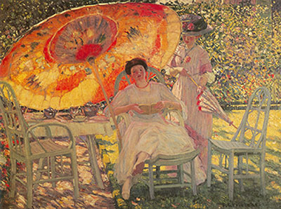 Frederick Frieseke, The Garden Parasol Fine Art Reproduction Oil Painting