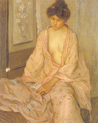 Frederick Frieseke, Girl in Pink Fine Art Reproduction Oil Painting