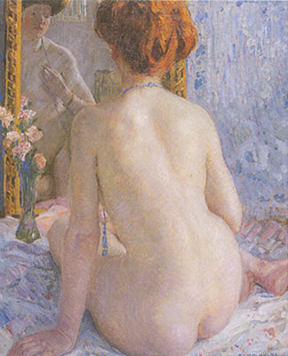 Frederick Frieseke, Reflections (Marcelle) Fine Art Reproduction Oil Painting