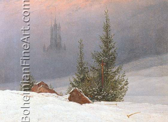 Caspar David Friedrich, Winter Landscape with a Church Fine Art Reproduction Oil Painting