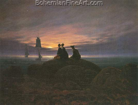 Caspar David Friedrich, Moonrise over the sea Fine Art Reproduction Oil Painting