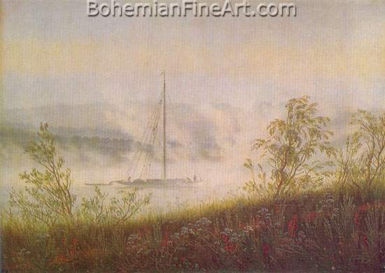 Caspar David Friedrich, Elbe Skiff in the Morning Mist Fine Art Reproduction Oil Painting