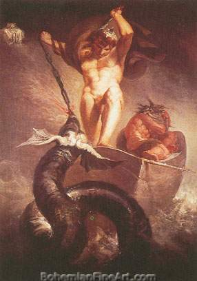 Henry Fuseli, Thor Battering the Midguard Serpent Fine Art Reproduction Oil Painting