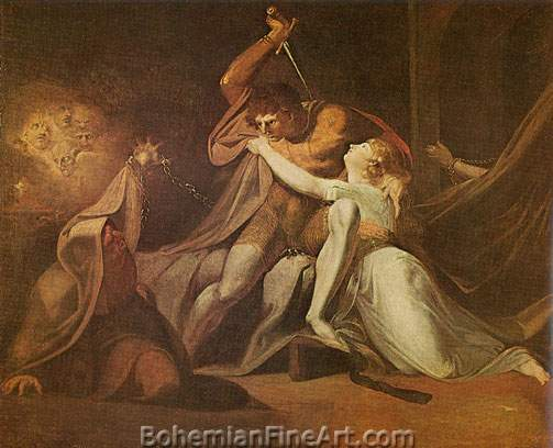 Henry Fuseli, Percival Delivering Belisane Fine Art Reproduction Oil Painting