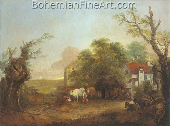 Thomas Gainsborough, Landscape with Cows Fine Art Reproduction Oil Painting