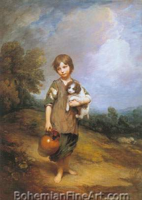 Thomas Gainsborough, Cottage Girl with Dog and Pitcher Fine Art Reproduction Oil Painting