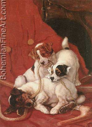 Valentine Thomas Garland, Pups at Play Fine Art Reproduction Oil Painting